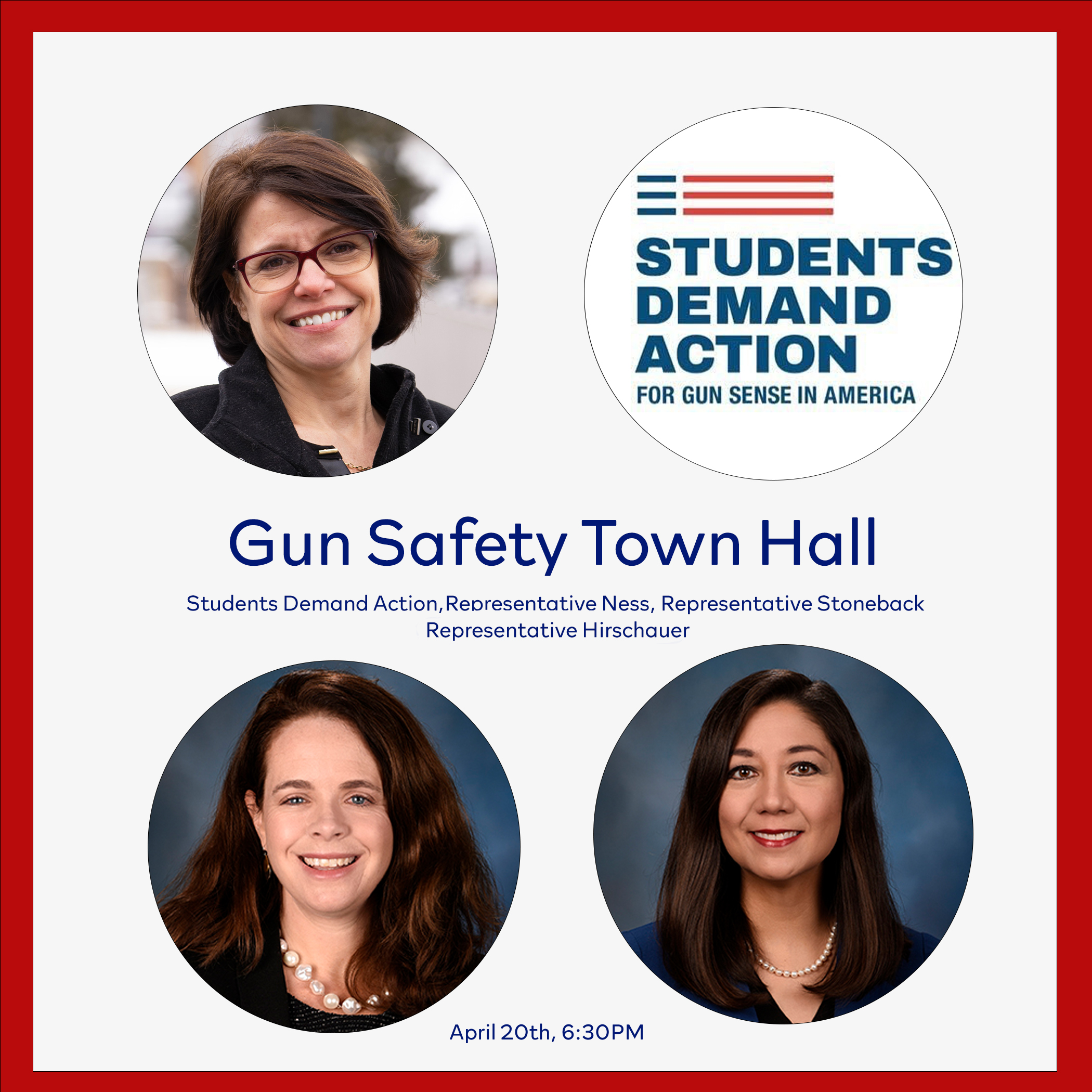 Images of Reps Ness, Stoneback, & Hirschauer, Students Demand Action logo, and the words 'Gun Safety Town Hall'