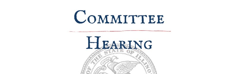 """Graphic with words """"Committee Hearing"""" in blue and the Illinois State seal in grey"""