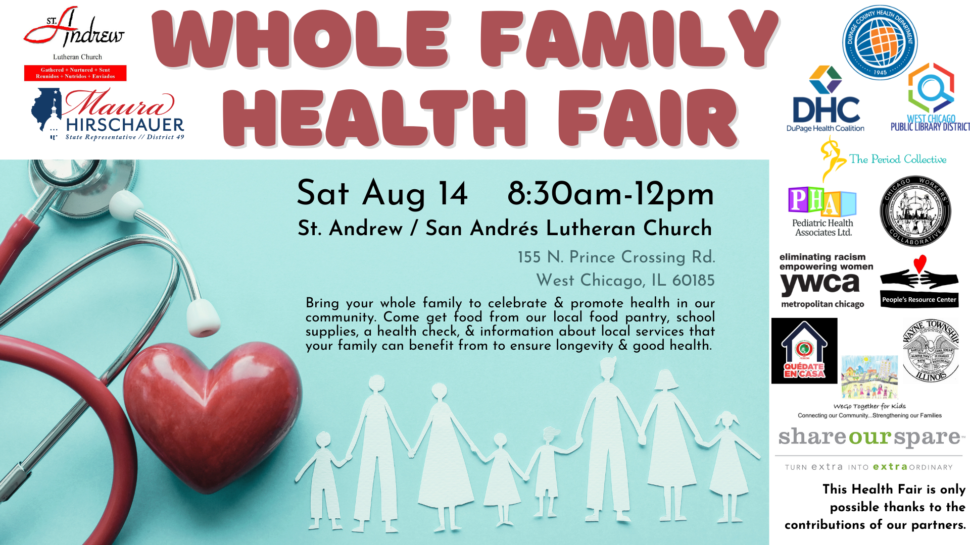 Whole Family Health Fair, Aug 14, 8:30am-12pm, St.Andrew's/St.Andres Lutheran Church, 155 N Prince Crossing Rd, West Chicago IL 60185, Logos of many sponsoring organizations